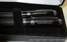 US DEA Badge Obsidian Carbon Fiber VIP PEN SET FBI CIA NSA SECRET SERVICE ATF
