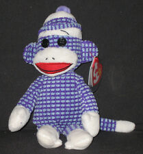 Ty Socks the Purple Quilted Sock Monkey Beanie Baby - Mint with Mint Tags