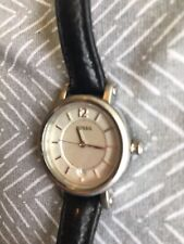 Womens Fossil watch Es-2372, Silver Case, Black Leather Band
