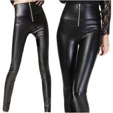 Sexy Celeb High Waist Stretch Women Zipper Wet Look Skinny Pants Leggings