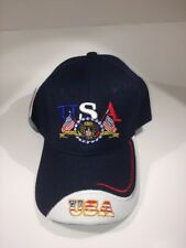 Patriotic USA and Flag Baseball Cap One Size Fits All - Navy