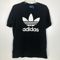 Adidas Originals Mens Big Trefoil Logo Graphic T Shirt Sz Large Black White