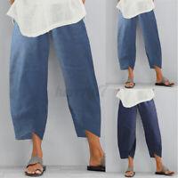 ZANZEA Womens Summer Casual Loose Trousers Wide Leg Baggy Denim Pants Plus Size