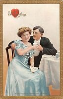 D80/ Valentine's Day Love Holiday Postcard c1910 Man Woman Tucks Table 15
