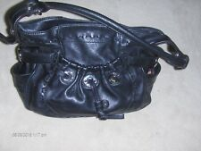 B MAKOWSKY soft black leather handbag with silver tone rings