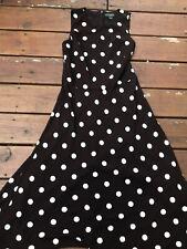 Ralph Lauren Lauren Brown White Polka Dot Sleeveless Dress 10 NICE