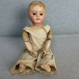 """20"""" well loved antique cloth stockinet Martha Chase doll with jointed elbows TLC"""