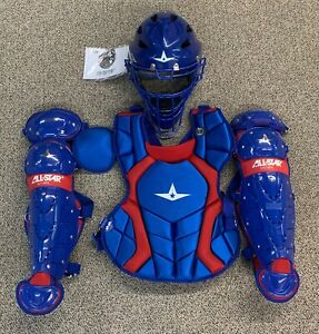 All Star Players Series Youth 10-12 Catchers Gear Set - Royal Blue Red