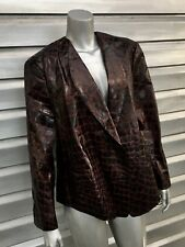 GIORGIO ARMANI Burgundy Crocodile Embossed Leather Black Label Jacket RARE!!