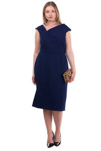 RRP€1025 ROLAND MOURET Pencil Dress Size 14 XL LIMITED EDITION Made in Portugal