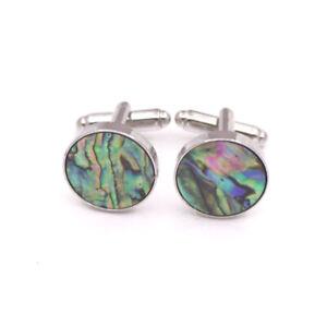 Green  Rainbow Abalone Shell Round 16mm Cufflinks Silvery Cuff Link