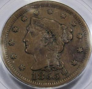 "1855 Braided Hair Large Cent PCGS XF-45 ""Knob on Ear"" Variety! Nice and Original"