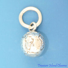 THE PLANET EARTH GLOBE WORLD 3D .925 Solid Sterling Silver Charm MADE IN USA