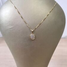"Solid yellow gold circle necklace H/SI with 0.13 carats on 17"" solid gold chain"