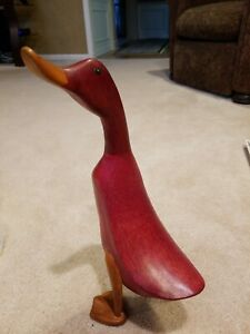"""LARGE 16"""" TALL DCUK HAND CARVED WOOD DUCK  sculpture MCM"""