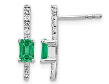 1/3 Carat (ctw) Emerald Stick Earrings 14K White Gold with Diamonds