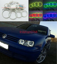 4pcs RGB Multi-Color Angel Eyes kit Halo Rings For VW Golf MK4 2003 2004 2005