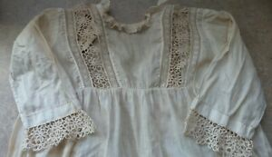 ANTIQUE!  DRESS with Tatted DESIGNS & TRIMS for Composition & Bisque BABY DOLLS