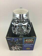 Vintage Star Wars Darth Vader Helmet Chrome Silver Sculpted Figural Helmet Mug