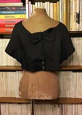 New CHLOE SS'08 black evening jacket FR 40 UK 14 bow geometric bolero cropped