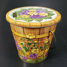 Vintage Patio Candle Citronella in Cute Bucket decorated w Blue Yellow Pansies