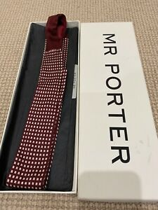 PRADA Men's Designer Burgundy Woven Check Square Tie - New in Box