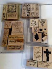 Stampin' Up Wood Rubber Stamp Lot Of 25 Sets Pre-owned