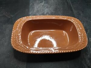 Oven dish by fox run craftsmen . Terracotta colour . Glazed inside.