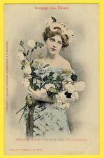 """cpa BERGERET Dos 1900 FEMME Langage des FLEURS """"BOULE de NEIGE"""" Journal L'ECLAIR"""