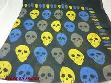 foulard tete de mort 100 % coton grand carré de 1 M X 1 M,moto,biker,protection