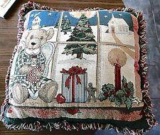 "Christmas Cushion Throw Pillow Window Country Snow Scene Angel Teddy 16"" Square"