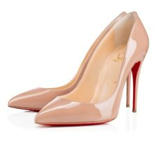 NIB Christian Louboutin Pigalle Follies Nude Patent Leather 100mm Pumps 37/6.5US