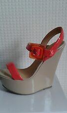 Ladies womens new beige nude patent sandal shoe wedge heels u.k size 7