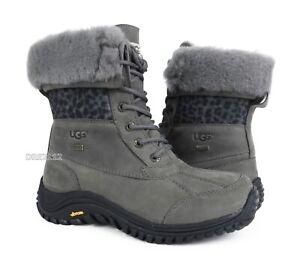 UGG Adirondack II Exotic Charcoal Leather Fur Boots Womens Size 7 *NIB*