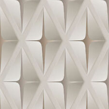 Beige Brown White Wallpaper 3D Square Embossed Geometric Modern  AS Creation
