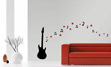 Gitarre+Sterne+Noten Musik Rock´n´Roll Sound Wohnzimmer Wandaufkleber WandTattoo
