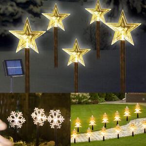 5pc/Set Solar Powered Stake Light Waterproof Garden Outdoor Path Lamp Xmas Decor