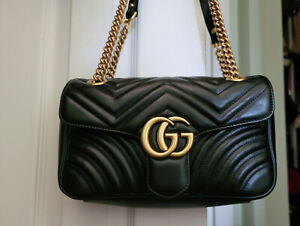 AUTHENTIC GUCCI MARMONT SMALL SHOULDER BAG BLACK LEATHER