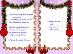 Assorted Christmas Card verse  inserts