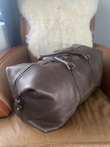 Mens Rare Vintage Drawn Leather Clipper Mulberry Holdall