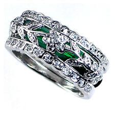 DESIGN REPLICA_RING SET_FLORAL VINE_CZ / GREEN ENAMEL_SZ-4__925 SILVER_NF