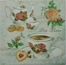 ENGLISH TEA TIME  TWO(2) single LUNCH SIZE  paper napkins for decoupage 3-ply