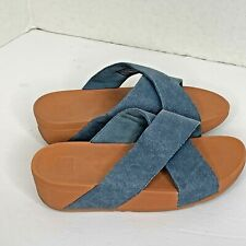 Fit Flop Womens Sz 7 Denim Slip on Slide Shoes Sandals