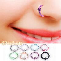 8Pcs Stainless Steel Septum Piercing Seamless Hinged Segment Lip Nose Rings Hoop