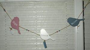 Bunting Peg Garland Hope Dream Believe Bird Photo Hanging Decoration 90 cm New