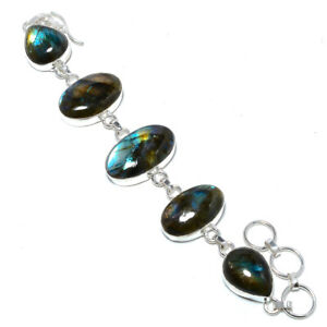 "Blue Fire Labradorite - Canada 925 Sterling Silver Ethnic Bracelet 7-7.99"" F2545"