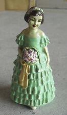 "Vintage 1940s Chalkware Bride in Green Girl Figurine 5"" Tall"