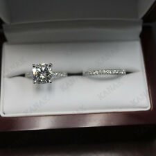 2.5 ct Cushion Cut Diamond 10k White Gold Bridal Set Engagement Ring for Women's