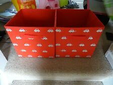2x kids red foldable storage box with car design