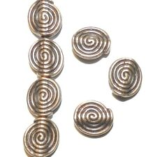 MB366 Antiqued Copper 10mm Semi- Round with Swirl Design Metal Alloy Beads 20pc